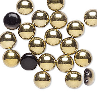 Bead, Preciosa Candy™, Czech pressed glass, opaque black with half-coat bronze gold, 8mm candy with (2) 0.8-0.9mm holes. Sold per pkg of 20. (23980-26441)