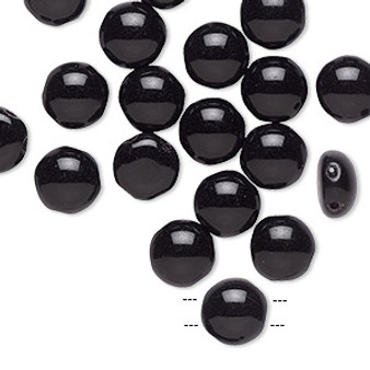 Bead, Preciosa Candy™, Czech pressed glass, opaque black, 8mm candy with (2) 0.8-0.9mm holes. Sold per pkg of 20.