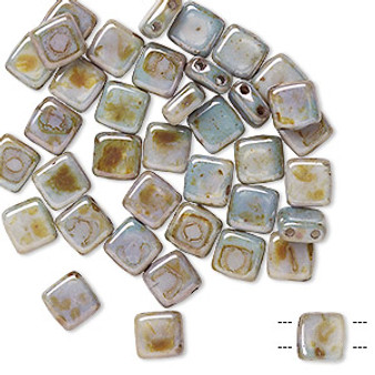 Bead, Preciosa, Czech pressed glass, Marbled Opaque Green, 6x6mm Two Hole Tile with (2) 0.7mm holes. Sold per pkg of 40.