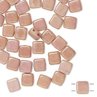 Bead, Preciosa, Czech pressed glass, Marbled Opaque Pink, 6x6mm Two Hole Tile with (2) 0.7mm holes. Sold per pkg of 40.