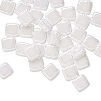 Bead, Preciosa, Czech pressed glass, opaque alabaster snow white luster, 6x6mm Two Hole Tile with (2) 0.7mm holes. Sold per pkg of 40.