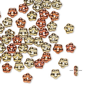 Bead, Preciosa, Czech pressed glass, opaque California gold rush, 5x2mm forget-me-not flower with 0.8-0.9mm hole. Sold per pkg of 50.