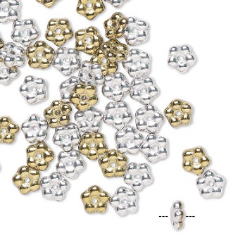 Bead, Preciosa, Czech pressed glass, opaque California silver, 5x2mm forget-me-not flower with 0.8-0.9mm hole. Sold per pkg of 50.