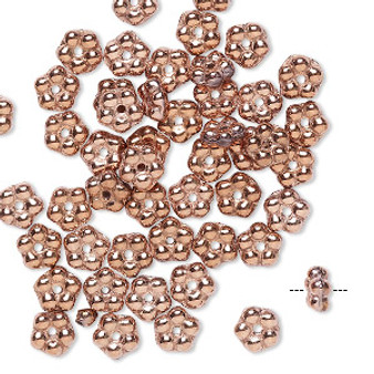 Bead, Preciosa, Czech pressed glass, opaque copper, 5x2mm forget-me-not flower with 0.8-0.9mm hole. Sold per pkg of 50.