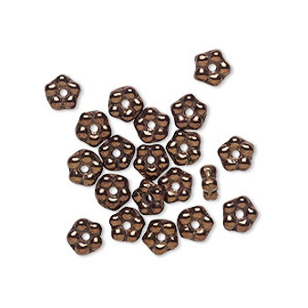 Bead, Preciosa, Czech pressed glass, opaque dark bronze luster, 5x2mm forget-me-not flower with 0.8-0.9mm hole. Sold per pkg of 50.