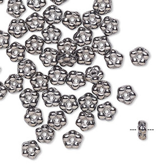 Bead, Preciosa, Czech pressed glass, Opaque Gunmetal, 5x2mm forget-me-not flower with 0.8-0.9mm hole. Sold per pkg of 50.