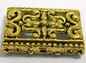Ant Gold 3-Strand Slider Rectangle, 17mm long, 12mm wide, 3mm thick, hole: 1.5mm 20 pack