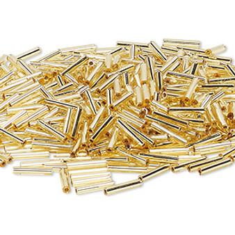 Miyuki Bugle Beads - 12mm x 2.4mm glass - S/L Gold 003 (50gms)