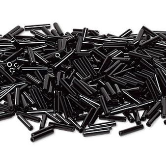 Miyuki Bugle Beads - 12mm x 2.4mm glass - Op Black 401 (50gms)