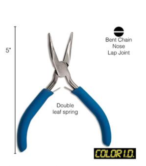 """Color I.D - 5"""" Colour coded Bent Chain Nose Pliers"""