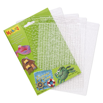 Texture plate, Makin's®, plastic, clear, 6-1/4 x 4-1/2 inch textured rectangle with cobblestone, brick, waves and sand..