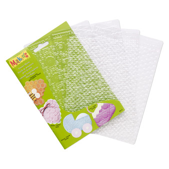 Texture plate, Makin's®, plastic, clear, 6-1/4 x 4-1/2 inch textured rectangle with honeycomb, eyelet, weave and lace.