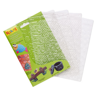 Texture plate, Makin's®, plastic, clear, 6-1/4 x 4-1/2 inch textured rectangle with scale, snowflake, woodgrain and stars.