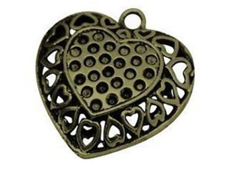 2 x Double Sided Tibetan Style Pendant, Antique Bronze, Heart, 36mm x 35mm, hole: 3.5mm