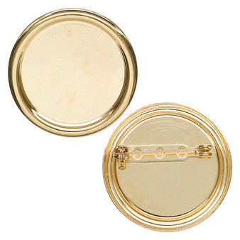 Pin back, gold-plated steel, 35mm round with 28mm round setting. Sold individually