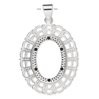 """1 x Pendant, silver-plated """"pewter"""" (zinc-based alloy), 38x32mm fancy oval with 25x18mm oval setting."""