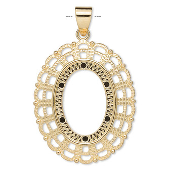 """1 x Pendant, gold-plated """"pewter"""" (zinc-based alloy), 38x32mm fancy oval with 25x18mm oval setting."""