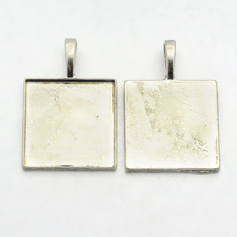 2 x Square Pendant Setting Silver 39*27*3mm , Tray 25*25mm