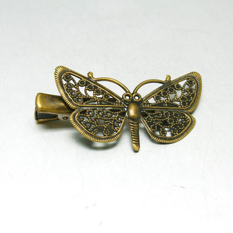 3 x Iron Hair Clip, with Brass Butterfly Tray, Antique Bronze, Size:  25.5 x 43mm x 10mm