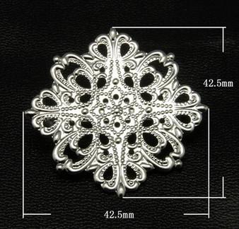 2 x Brass Brooches, Filigree Flower, Silver, 42 x 42.5mm, Pin: 33mm