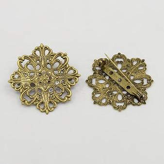 2 x Brass Brooches, Filigree Flower, Antique Bronze, 42 x 42.5mm, Pin: 33mm