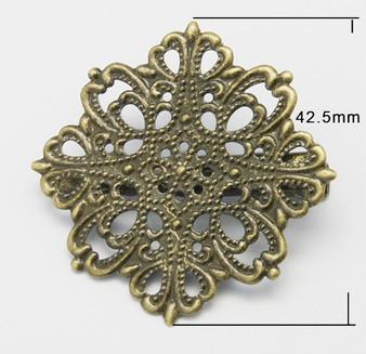2 x Brass Alligator Clip, Filigree Flower, Antique Bronze, 42 x 42.5mm