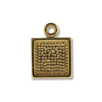 4 x Gold Plated Square Pendant base 10.5mm x 14mm