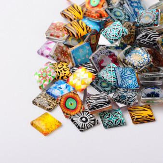 4 x Geometric Flower Photo Glass Square Cabochons, Mixed Design, 25x25x5~6mm