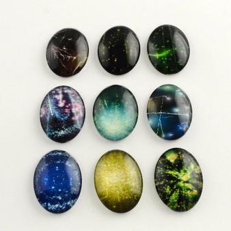 8 x Galaxy Starry Sky Pattern Flatback Oval Glass Cabochons, Mixed design, 25x18x5mm
