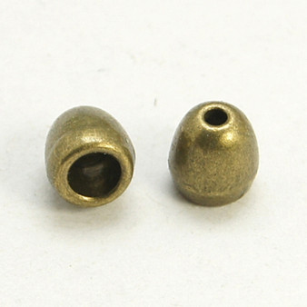 25gm pack Tibetan Style Bead Caps/Cord end, Antique Bronze, 6mm x 6mm, hole: 3mm and 2mm (approx 40)