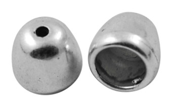 25gm pack Tibetan Style Bead Caps/Cord end, Platinum, 6mm x 6mm, hole: 3mm and 2mm (approx 40)