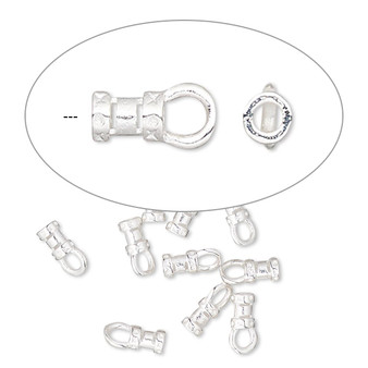 Crimp end, silver-plated brass, 4.5x3mm tube with loop, 1-1.5mm inside diameter. Sold per pkg of 10.