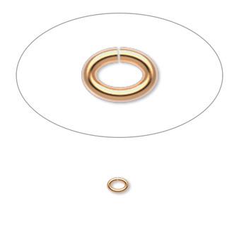 Jump ring, gold-plated brass, 4x3mm oval, 2.5x1.5mm inside diameter, 20 gauge. Sold per pkg of 500.