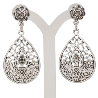 """Earring, antique silver-plated steel and """"pewter"""" (zinc-based alloy), 2x1 inches with fancy teardrop and post with (1) PP11 and (1) PP24 chaton settings. Sold per pair."""