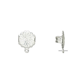 Earnut, sterling silver, 9.5mm round daisy with loop. Sold per pair.