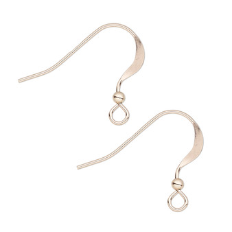 Ear wire, 14Kt rose gold-filled, 17mm flat fishhook with open loop and 2mm ball, 22 gauge. Sold per pair.