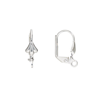 Ear wire, silver-plated brass, 18mm leverback with 8x6mm shell and open loop. Sold per pkg of 5 pairs.
