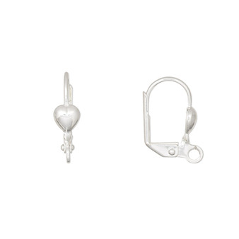 Ear wire, silver-plated brass, 16mm leverback with 5mm heart and open loop. Sold per pkg of 5 pairs.