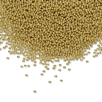 Bead, coated glass, 1mm undrilled micro bead round. Sold per 15-gram bag Opaque Gold