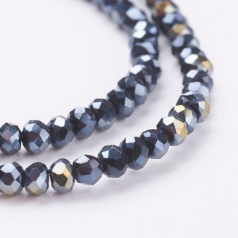 """Electroplate Glass Bead, Faceted Rondelle, Black AB, 3x2mm; Hole: 0.5mm, approx 190pcs per strand, Sold per 2 x 16.7"""" strands."""