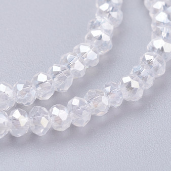 """Electroplate Glass Bead, Faceted Rondelle, Clear AB, 3x2mm; Hole: 0.5mm, approx 190pcs per strand, Sold per 2 x 16.7"""" strands."""