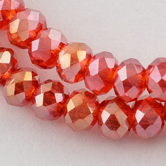 """Electroplate Glass Bead, Faceted Rondelle, Red AB, 3x2mm; Hole: 0.5mm, approx 190pcs per strand, Sold per 2 x 16.7"""" strands."""