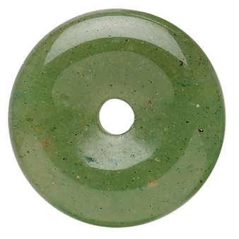 Component, green aventurine (natural), 25mm round donut, C grade, Mohs hardness 7. Sold individually.