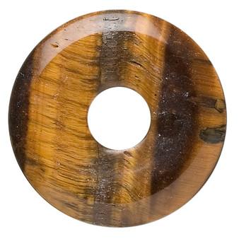 Focal, tigereye (natural), 30mm round donut, B grade, Mohs hardness 7. Sold individually.