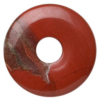 Focal, red jasper (natural), 30mm round donut, B grade, Mohs hardness 6-1/2 to 7. Sold individually.