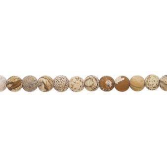 Bead, picture jasper (natural), matte, 4mm round with 0.5-1.5mm hole, B grade, Mohs hardness 6-1/2 to 7. Sold per 8-inch strand, approximately 45-50 beads.