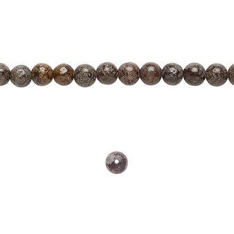 """Bead, brown snowflake jasper (natural), 4mm round, B grade, Mohs hardness 6-1/2 to 7. Sold per 15-1/2"""" to 16"""" strand."""