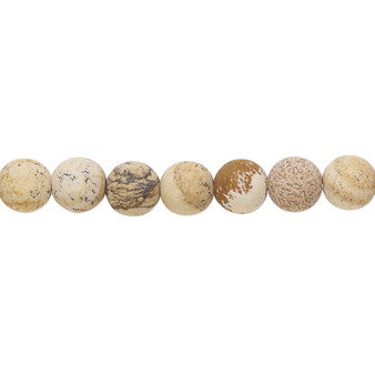 Bead, picture jasper (natural), matte, 6mm round with 0.5-1.5mm hole, B grade, Mohs hardness 6-1/2 to 7. Sold per 8-inch strand, approximately 30 beads.