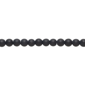 Bead, black onyx (dyed), matte, 4mm round with 0.5-1.5mm hole, B grade, Mohs hardness 6-1/2 to 7. Sold per 8-inch strand, approximately 50 beads.