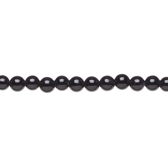 """Bead, black onyx (dyed), 4mm round, A- grade, Mohs hardness 6-1/2 to 7. Sold per 15-1/2"""" to 16"""" strand."""